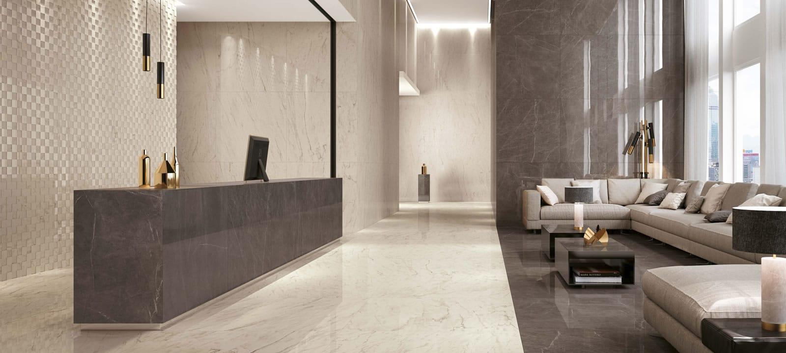 Minoli Marvel Grey Stone Lappato Large Tile 01
