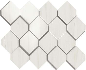 Marvel Bianco Dolomite Esagono 3D Mosaico 28.2x35.3 cm