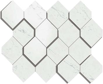 Marvel Carrara Pure Esagono 3D Mosaico