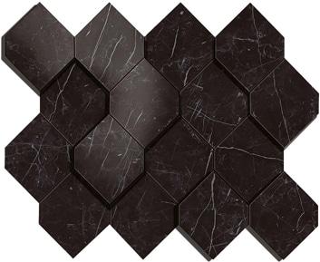 Marvel Nero Marquina Esagono 3D Mosaico 28.2x35.3 cm