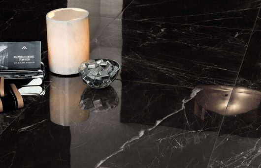 Minoli Evolution Marvel Noir Saint Laurent Black Marble Effect Tiles 00