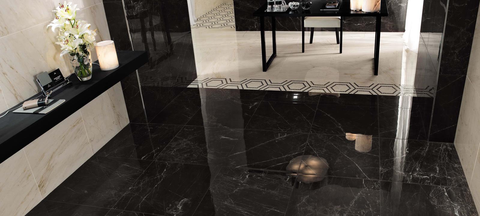 Black Marble Effect Tiles Minoli Marvel Noir Saint Laurent